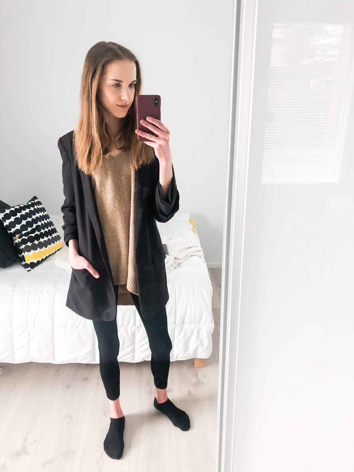 Styling up leggings with a blazer - Leggingsit ja bleiseri, muotibloggaaja, asuinspiraatio