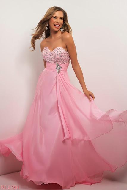 Resultado de imagen para vestidos de gala color rosa