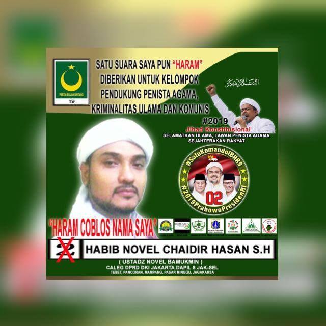 Novel Bamukmin Sampaikan Haram Coblos Namanya di Pemilu!