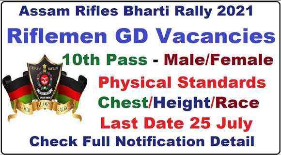 ASSAM-RIFLES 10th Pass Open Bharti Rally 2021