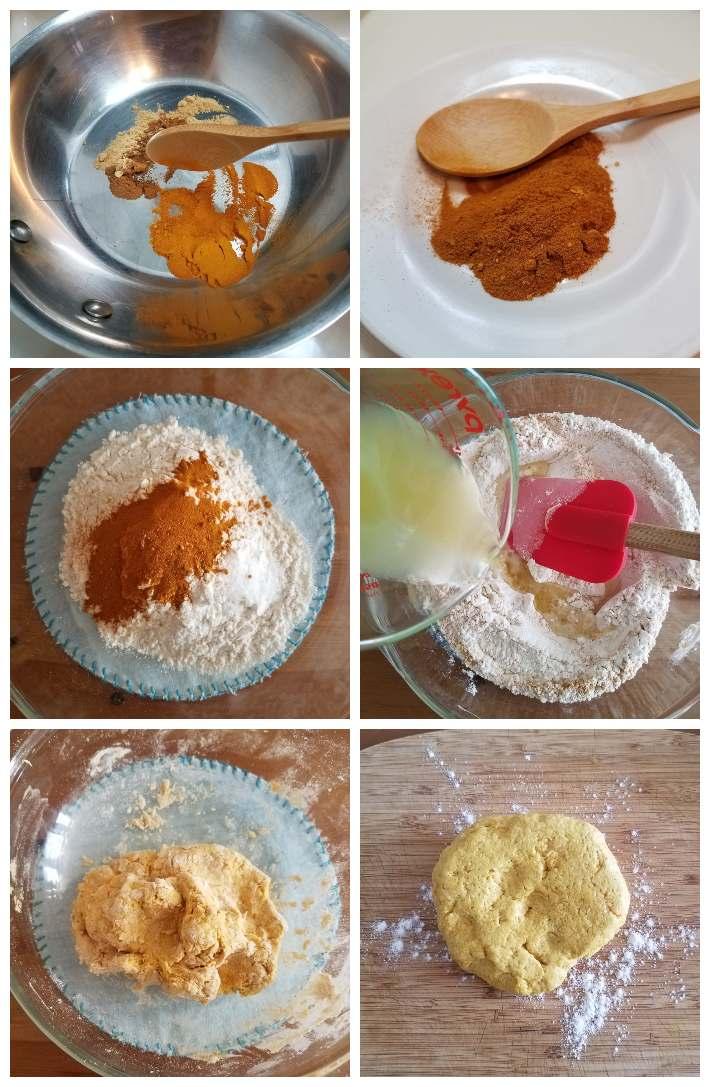 Preparación de la masa para las samosas, collage de 6 fotos