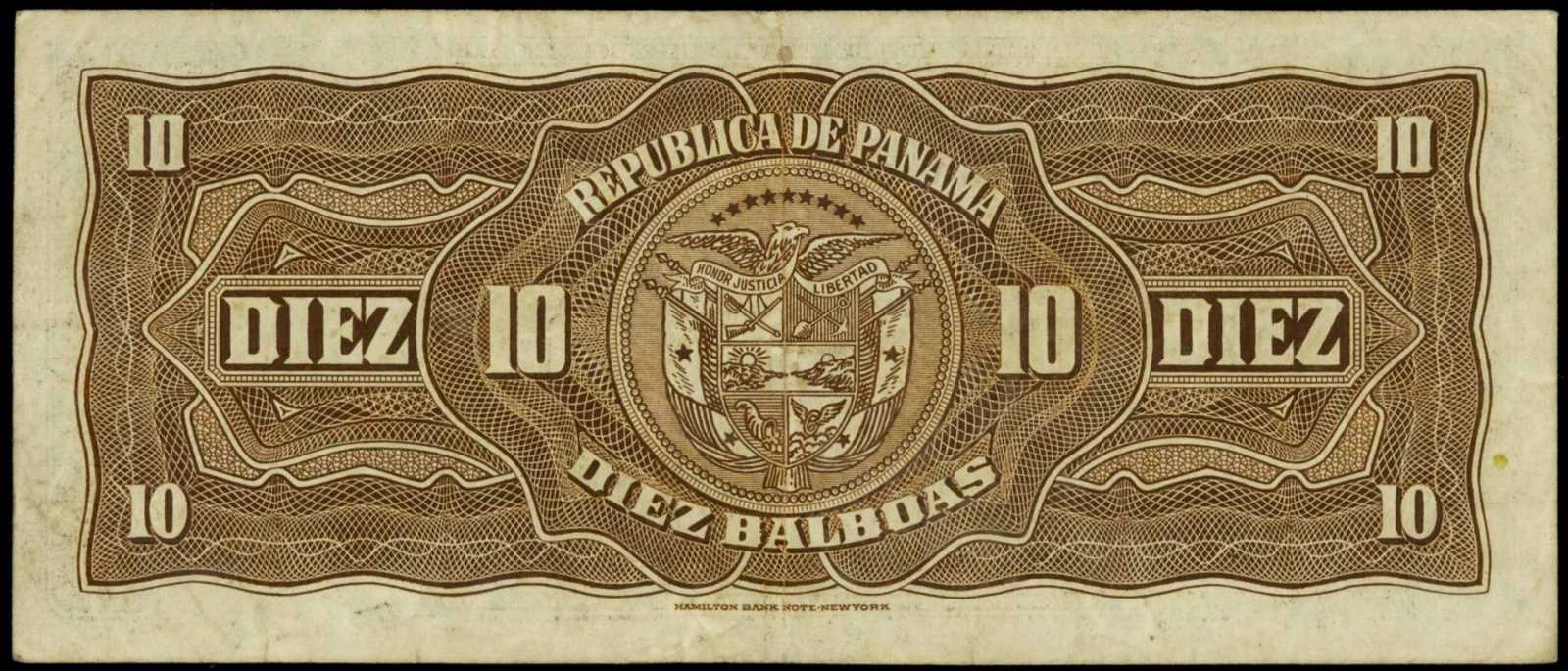 Republica de Panama currency 10 Balboas