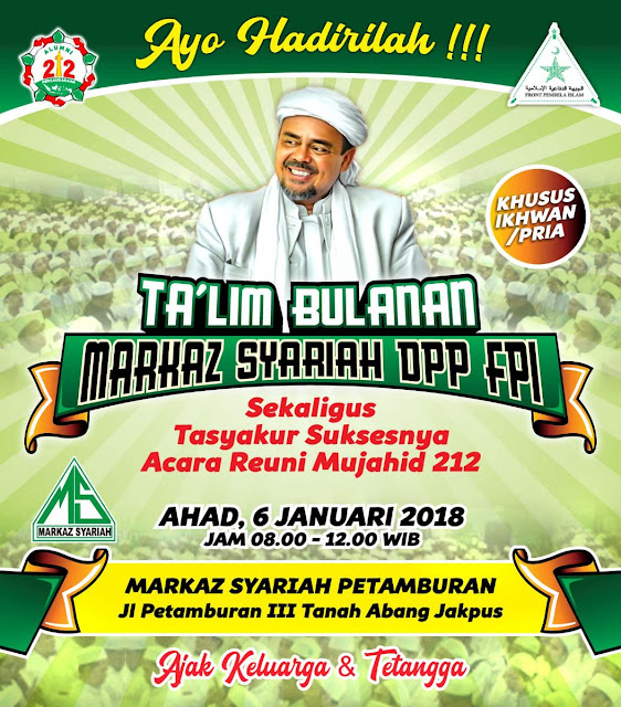 Besok, Markaz Syariah FPI Gelar Tasyakur Sukses Acara Reuni Mujahid 212