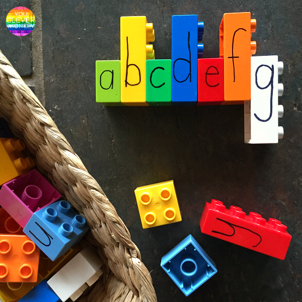 Learning Letters with Lego - ideas for learning letters - upper and lower case, alphabetical order, letter formation and sight words in the Early Years through hands on play. Perfect learning activities for preschoolers at home and in the classroom | you clever monkey