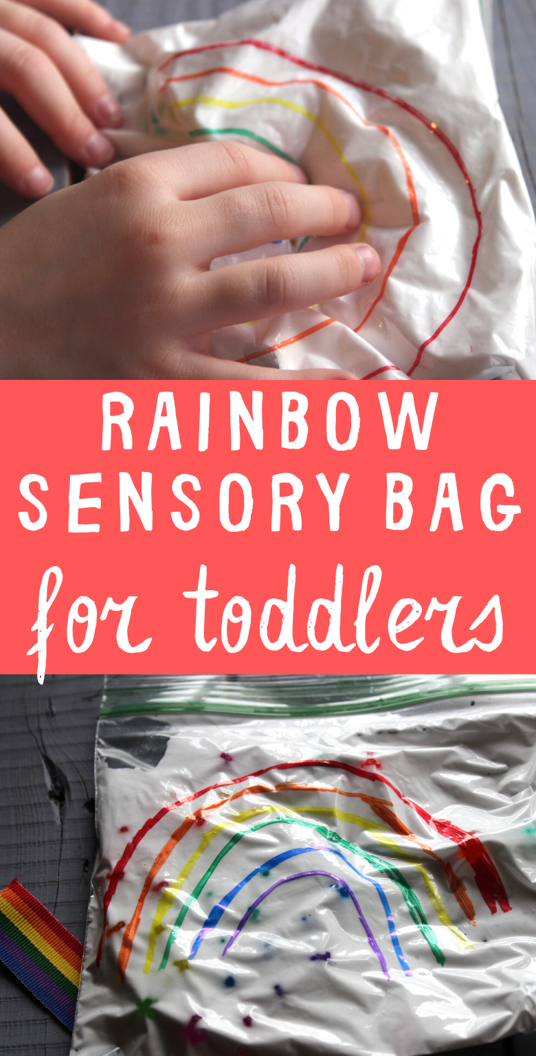 Rainbow sensory bag for toddlers. Water bead and shaving cream sensory bag to work on fine motor skills and colour recognition.