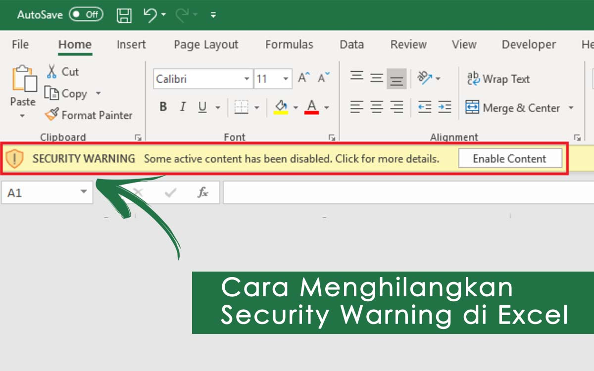 cara menghilangkan security warning di excel