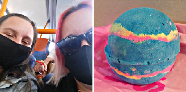 My youngest and I on the bus and a bath bomb.