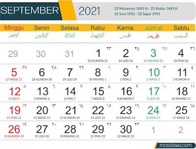 Template Kalender 2021 Bulan September