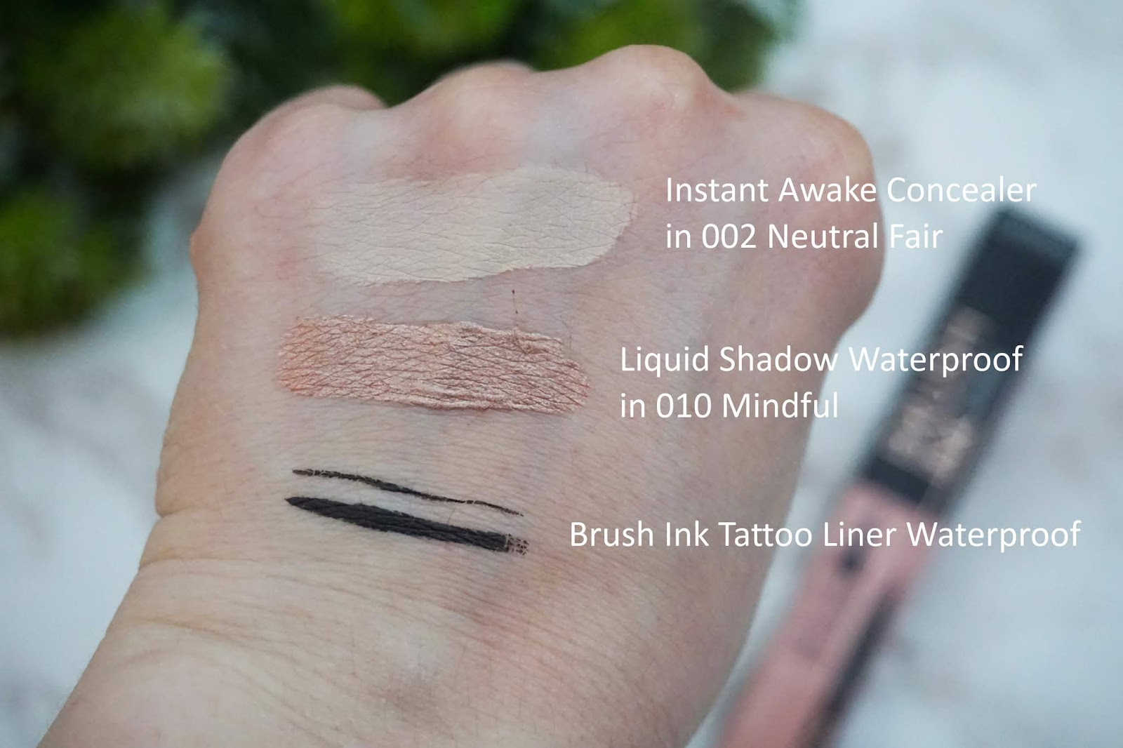Catrice Instant Awake Concealer in 002 Neutral Fair, Brush Ink Tattoo Liner Waterproof, Liquid Shadow Waterproof in 010 Mindful Swatch
