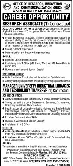 University Of Karachi New Jobs 30 Jun 2019