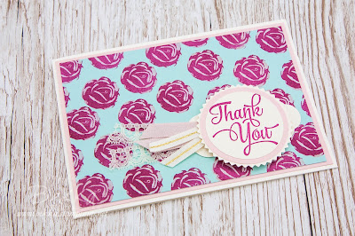 Cath Kidston Inspired Thank You Card featuring the Icing On The Cake Stamps from Stampin' Up! UK which you can buy here