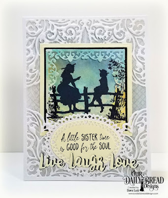 Our Daily Bread Designs Stamp Set: Sister Time, Custom Dies: Lacey Corners, Inspiration Words, Layered Lacey Ovals, Pierced Squares, Squares, Paper Collection: Shabby Rose