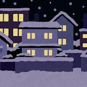 雪が降る夜の住宅街のイラスト(背景素材)