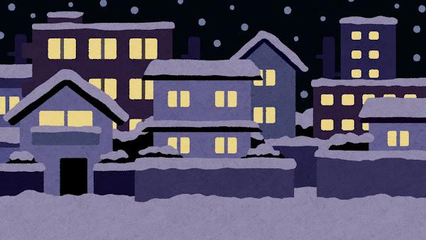 雨が降る夜の住宅街のイラスト(背景素材)
