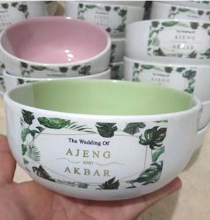 souvenir pernikahan mangkuk sablon