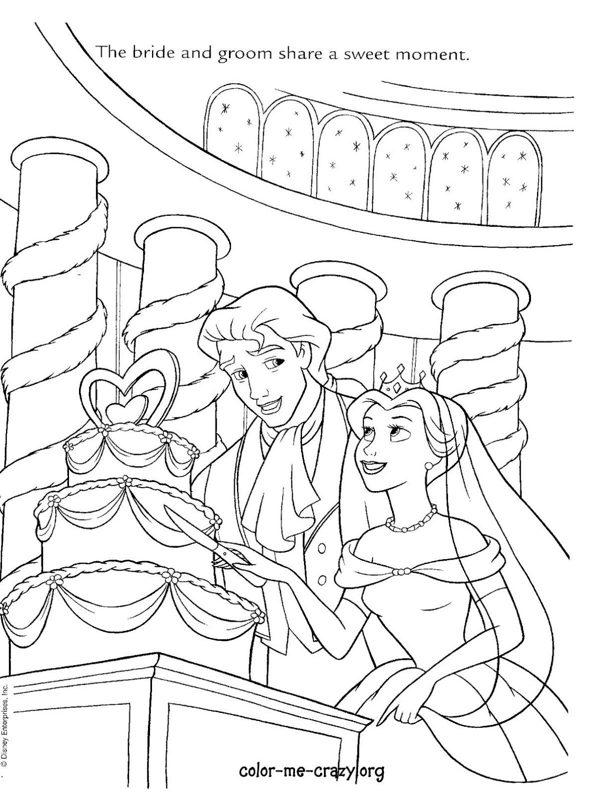 Coloring Pages Disney Princess Wedding