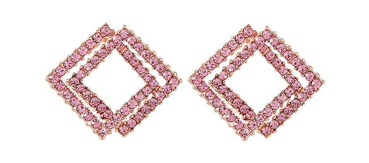 法式設計甜美粉水晶幾何耳環