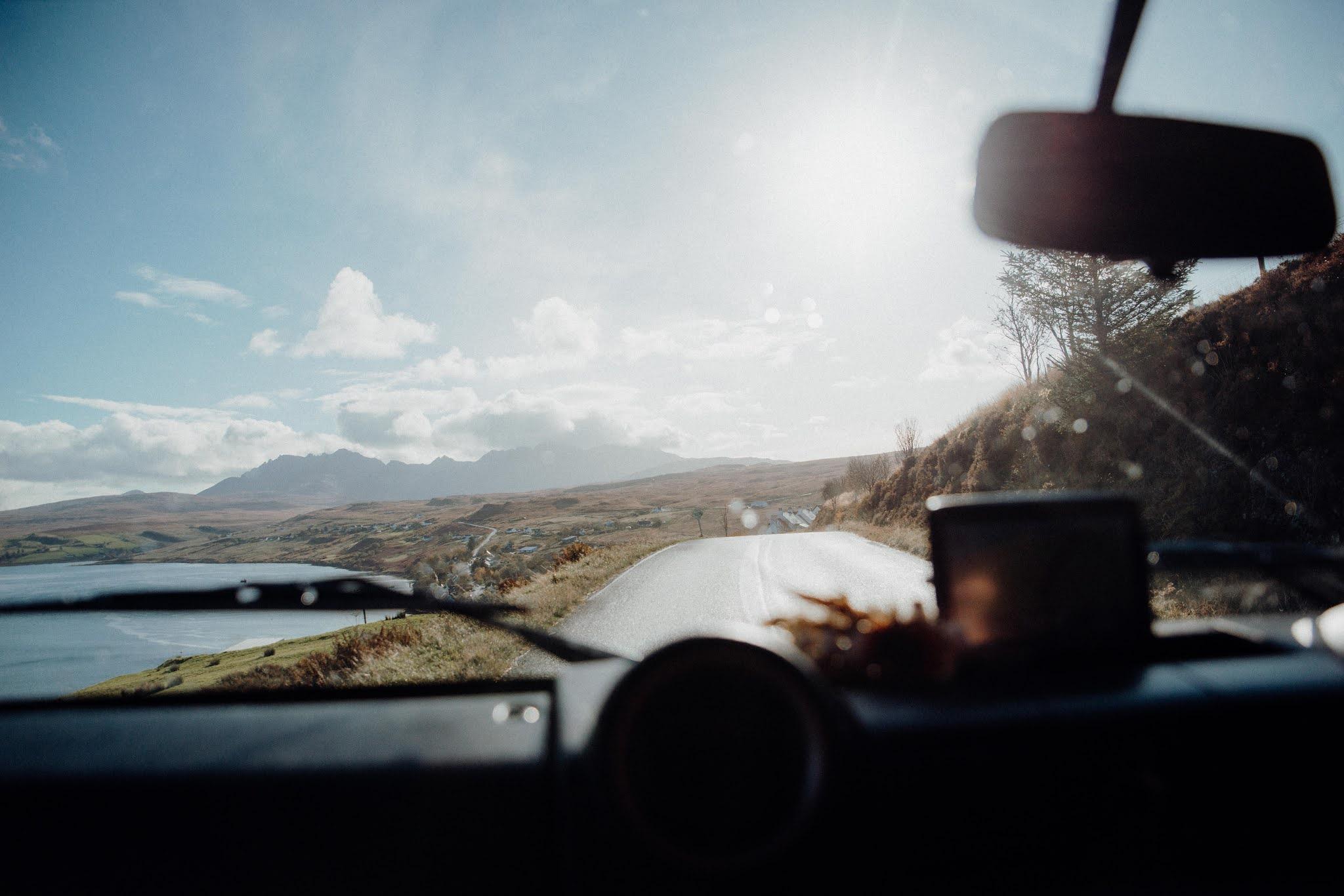 driving around skye landrover defender liquid grain