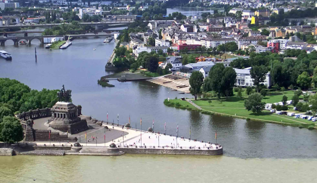 The confluence of the river Mosel and the Rhine River, Germany