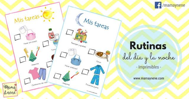 RUTINAS-DIA-NOCHE-RUTINES- IMPRIMIBLES-MATERNIDAD-NIÑOS
