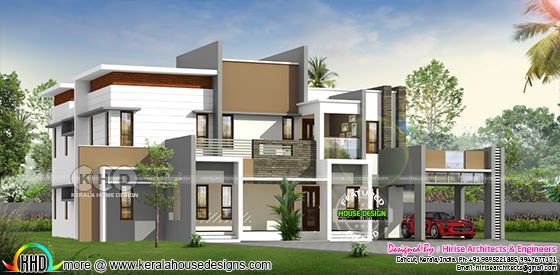 5 bedroom flat roof contemporary Kerala residence 3350 square feet