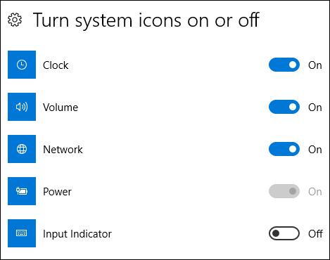 تشغيل رموز النظام أو إيقاف تشغيله في الإعدادات