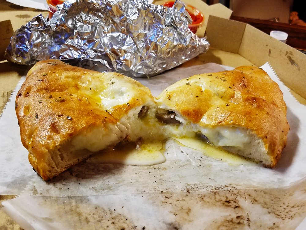 The calzone with sausage from Little Italy in Memphs, Tennessee