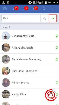 3. Langkah berikutnya untuk menghilangkan waktu terakhir online di FB Lite silakan kalian pilih titik hijau di pojok kanan atas yang menggambarkan online status