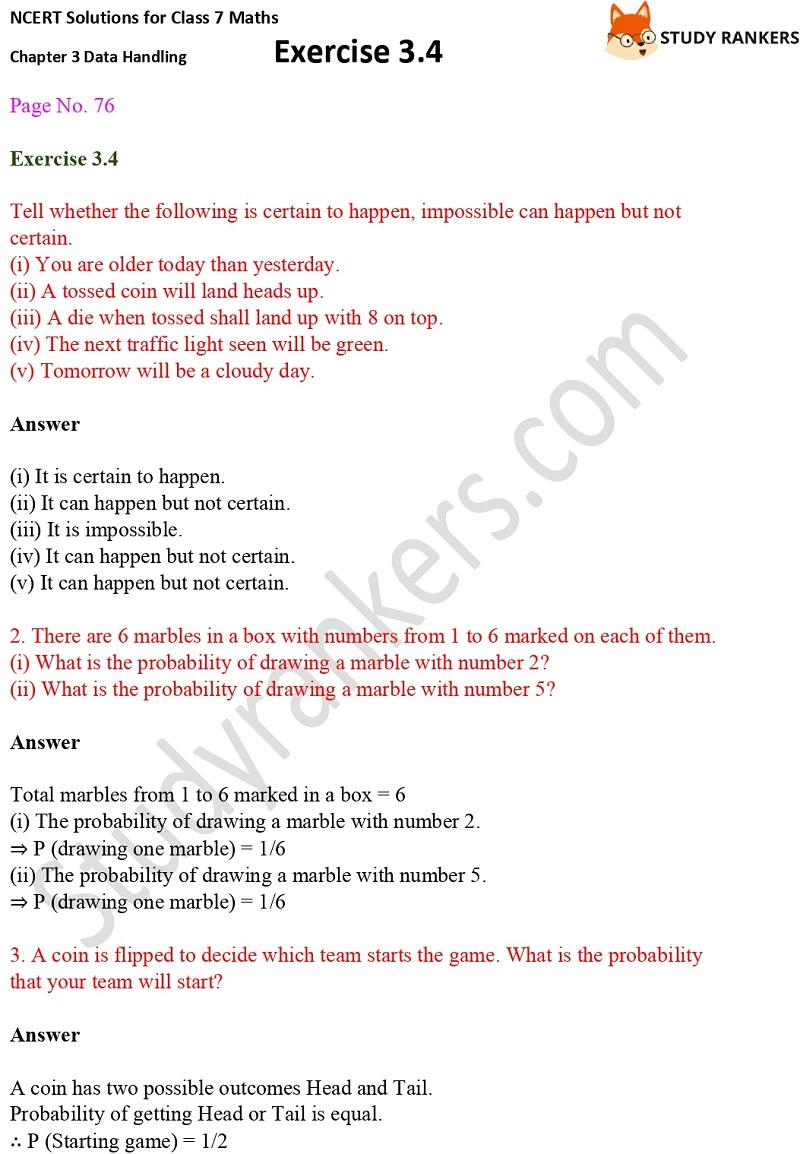 NCERT Solutions for Class 7 Maths Ch 3 Data Handling Exercise 3.4