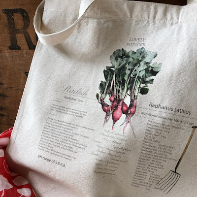 A radish canvas tote bag that goes well with vintage and antique interiors.