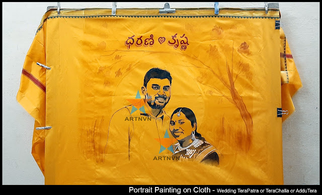 Portrait Art Painting on Cloth Fabric Painting on Marriage Wedding TeraPatra TeraChalla AdduTera in Hyderabad Telangana INDIA