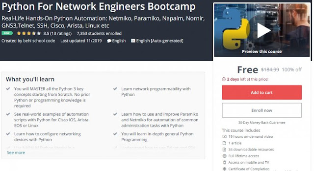 [100% Off] Python For Network Engineers Bootcamp| Worth 184,99$