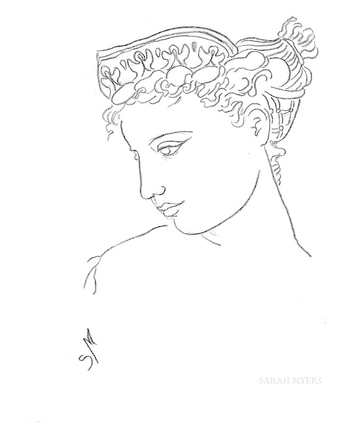 woman, diadem, Sarah, Myers, art, arte, crown, headdress, Greek, classical, charcoal, drawing, sketch, fashion, dibujo, profile, lady, figurative, minimal, line, line-drawing, face, head, hair, hairstyle, style, simple, minimalism, minimalist, black, white, lines, artwork, portrait, graceful, contemporary, modern