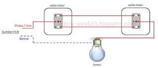 ilustrasi instalasi 2 saklar tukar 1 lampu