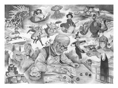 "Hayao Miyazaki & Studio Ghibli Tribute ""I am an Animator"" Fine Art Giclee Print by Andrew Rowland x Bottleneck Gallery"