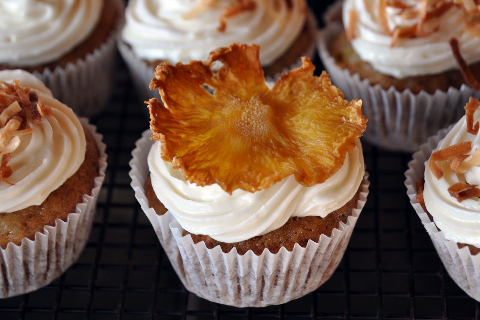 A La Graham Hummingbird Cupcakes With Dried Pineapple Flowers