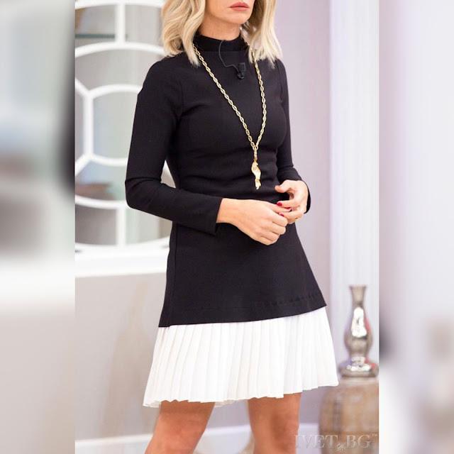 Μακρυμάνικο κοντό μαύρο με άσπρο φόρεμα DARIELA