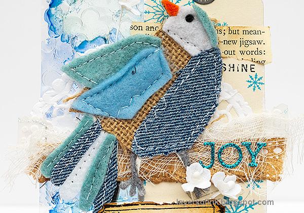 Layers of ink - Winter Bird Tutorial by Anna-Karin Evaldsson. Fabric patchwork bird.