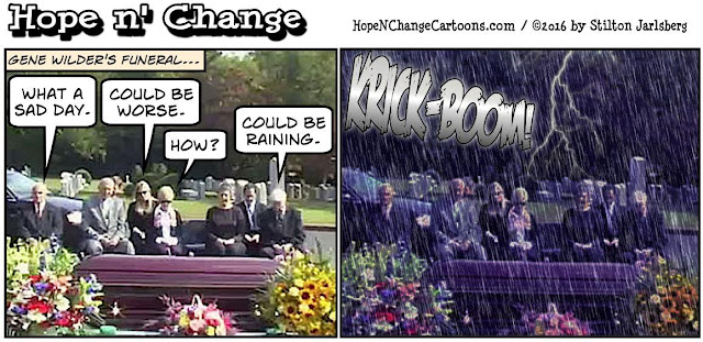 obama, obama jokes, political, humor, cartoon, conservative, hope n' change, hope and change, stilton jarlsberg, gene wilder, death, raining, young frankenstein