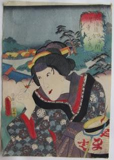 三代豊国 役者見立東海道 東海道鳴海宮間 笠寺 おたつ の浮世絵版画販売買取ぎゃらりーおおのです。愛知県名古屋市にある浮世絵専門店。