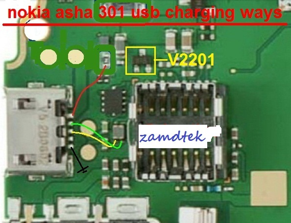 How to repair Nokia 301 asha USB charging ways solution jumper.