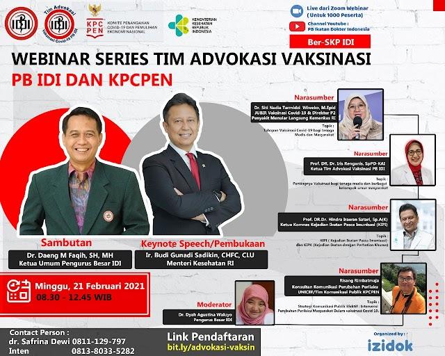 Gratis SKP IDI *WEBINAR Series Tim Advokasi Vaksinasi PB IDI bersama KPC PEN*