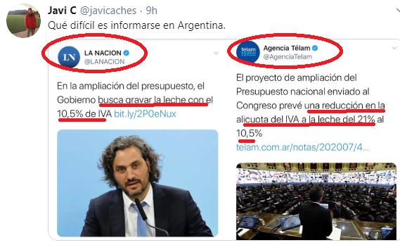 Que dificil informarse de verdad en la Argentina!!! Leche