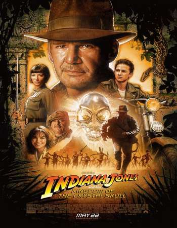 Poster Of Indiana Jones and the Kingdom of the Crystal Skull 2008 Hindi Dual Audio 550MB BluRay 720p ESubs HEVC Free Download Watch Online downloadhub.in