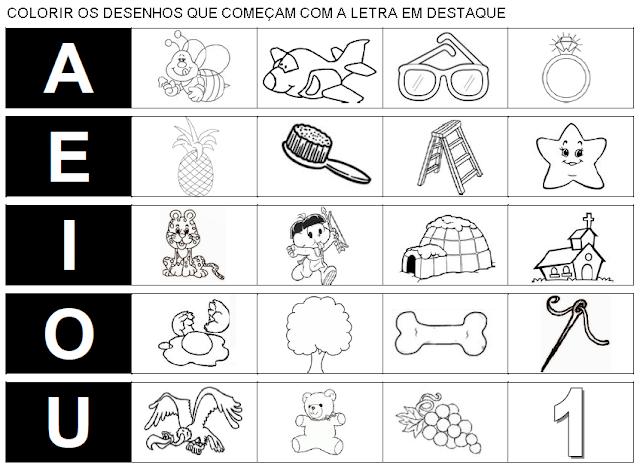 Colorindo desenhos que se iniciam com vogais