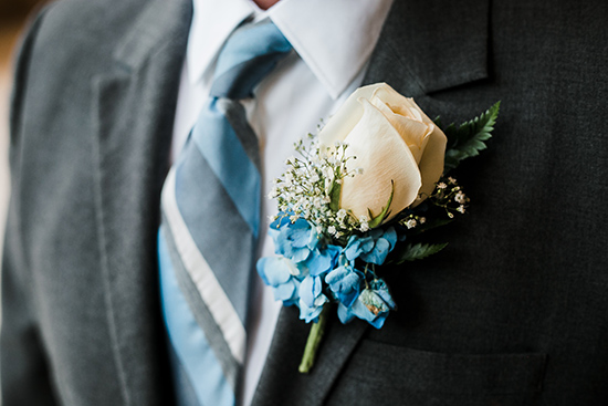 Brandy and Armando SF City Hall Wedding | Hydrangea and Rose Boutonniere