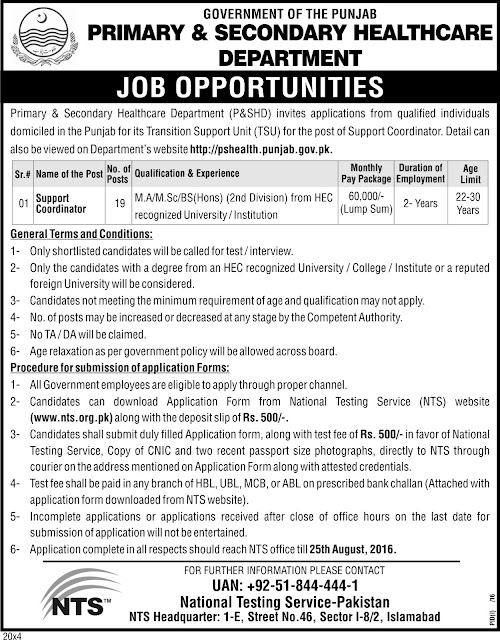 Government of the Punjab  Jobs Primary & Secondary Healthcare Department Jobs