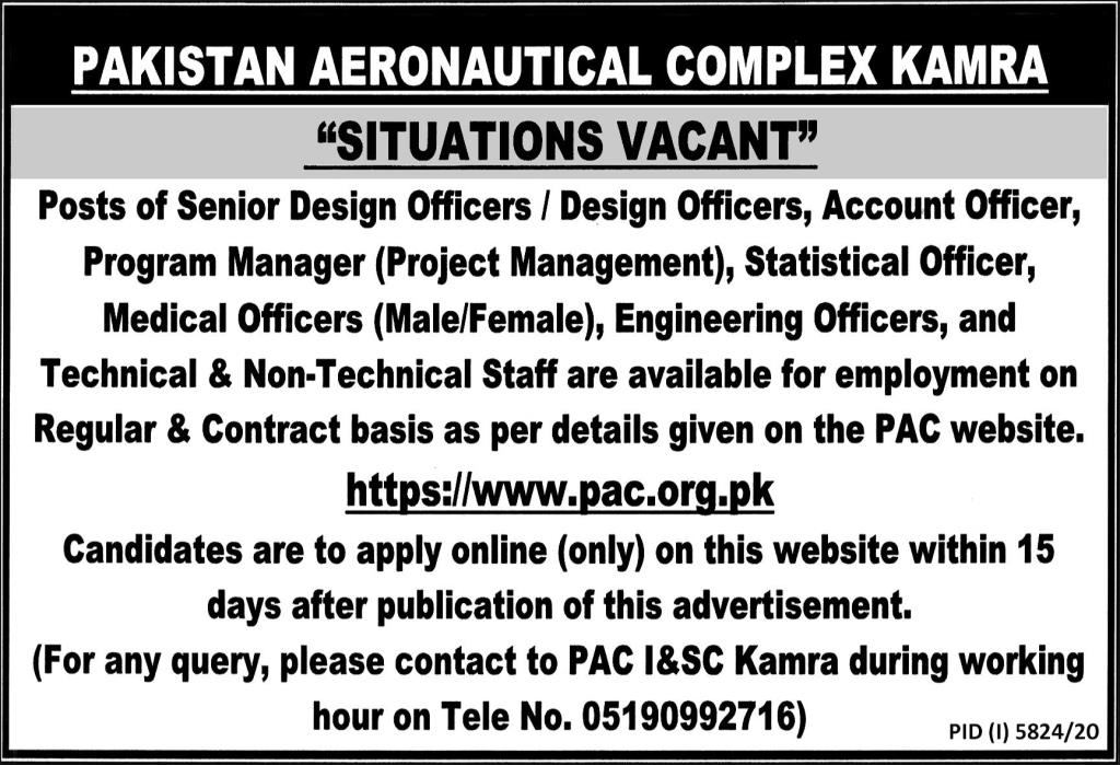 300+ Posts in Pakistan Aeronautical Complex PAC Jobs 2021 For LDC, UDC, Assistant Director (Tech Engg), Nursing Sister & more