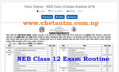 NEB Grade 12 Exam Routine 2078