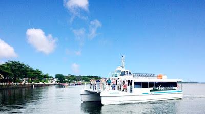 Passeios a bordo do catamarã permitem observação de botos no Boqueirão Sul
